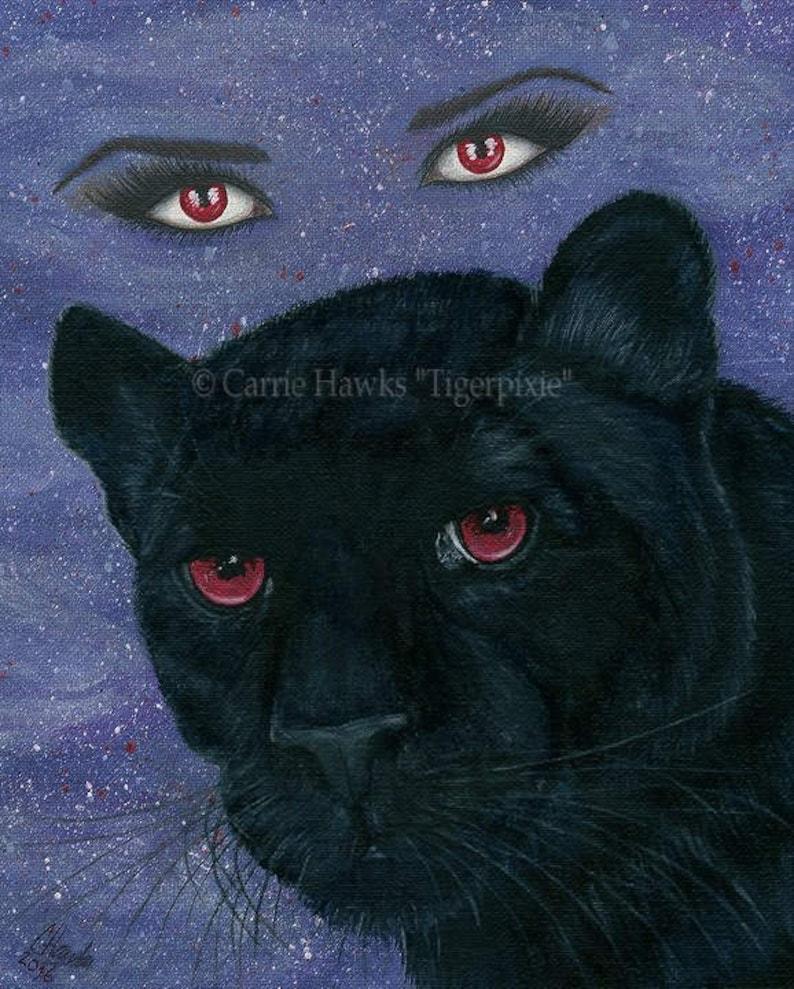 Carmilla Black Panther Original Painting Vampire Victorian Red image 0