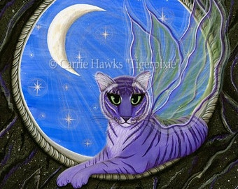 Tiger Art Original Cat Painting Pixie Fairy Cat Gothic Moon Stars Fantasy Cat Art Original Canvas Painting 12x16 Art For Cat Lover