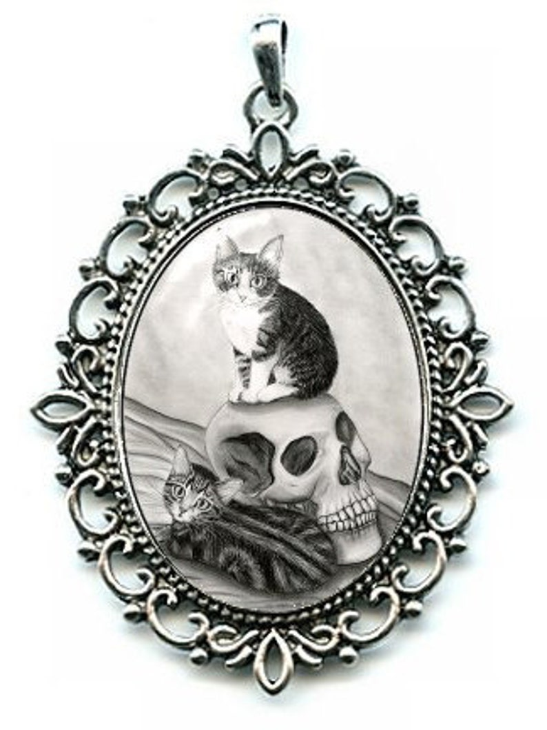 Witch's Kittens Necklace Vampire Skull Tabby Cat Drawing image 0