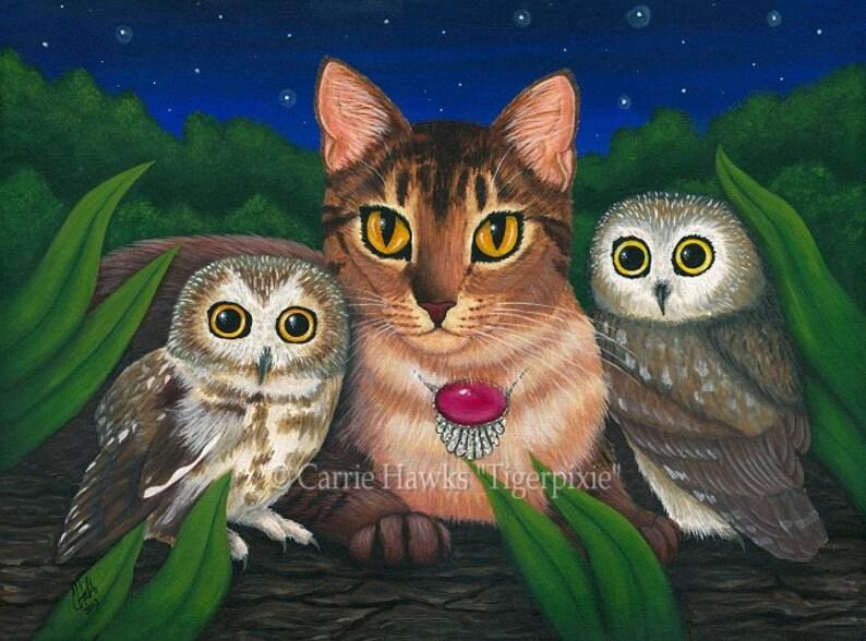 Cat Owls Art Cat Painting Saw Whet Owl Portrait Abyssinian Cat image 0