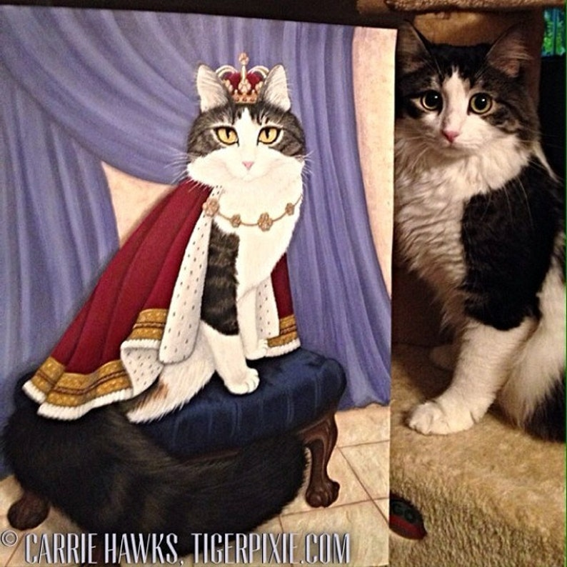 8b818059fca7 King Cat Painting Royal Cat Regal Cat Portrait Prince Anakin | Etsy