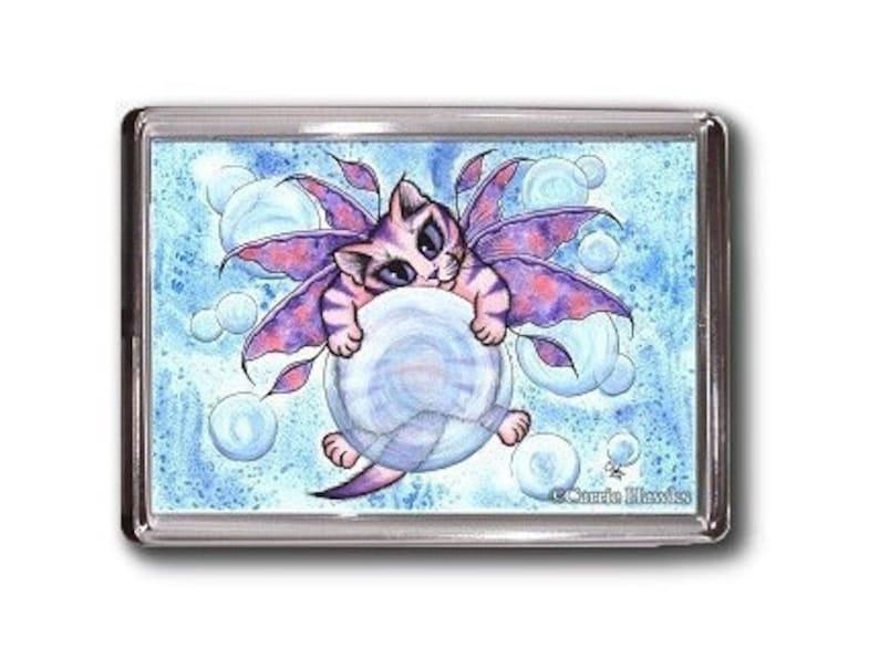 SALE Fairy Cat Magnet Kitten Bubbles Fantasy Cat Art Framed Magnet Cat Lovers Gift