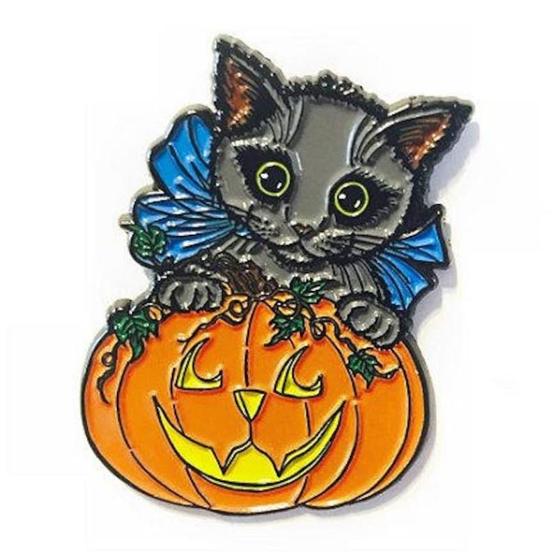 Halloween Black Cat Enamel Pin Fall Pumpkin Black Kitten image 0