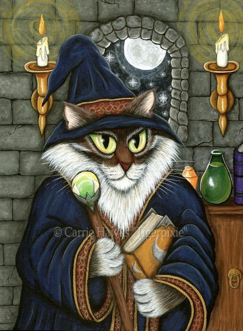 Wizard Cat Art Cat Painting Merlin Magician Sorcerer Fantasy image 0