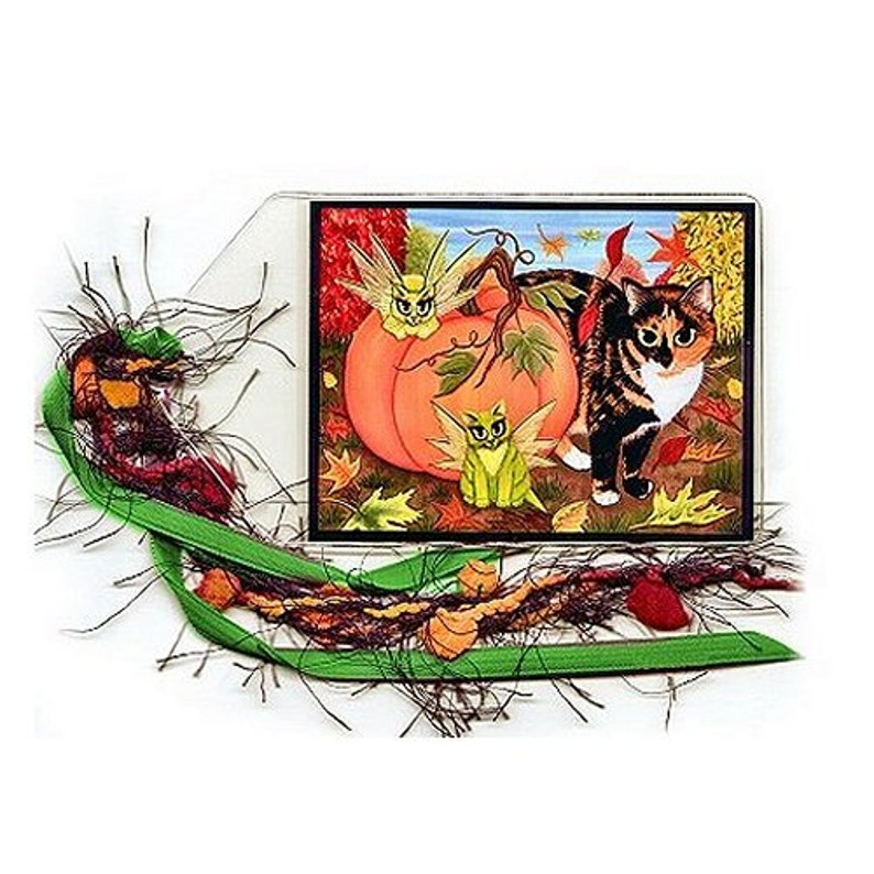 Calico Cat Bookmark Fairy Cats Bookmarker Fall Pumpkin image 0