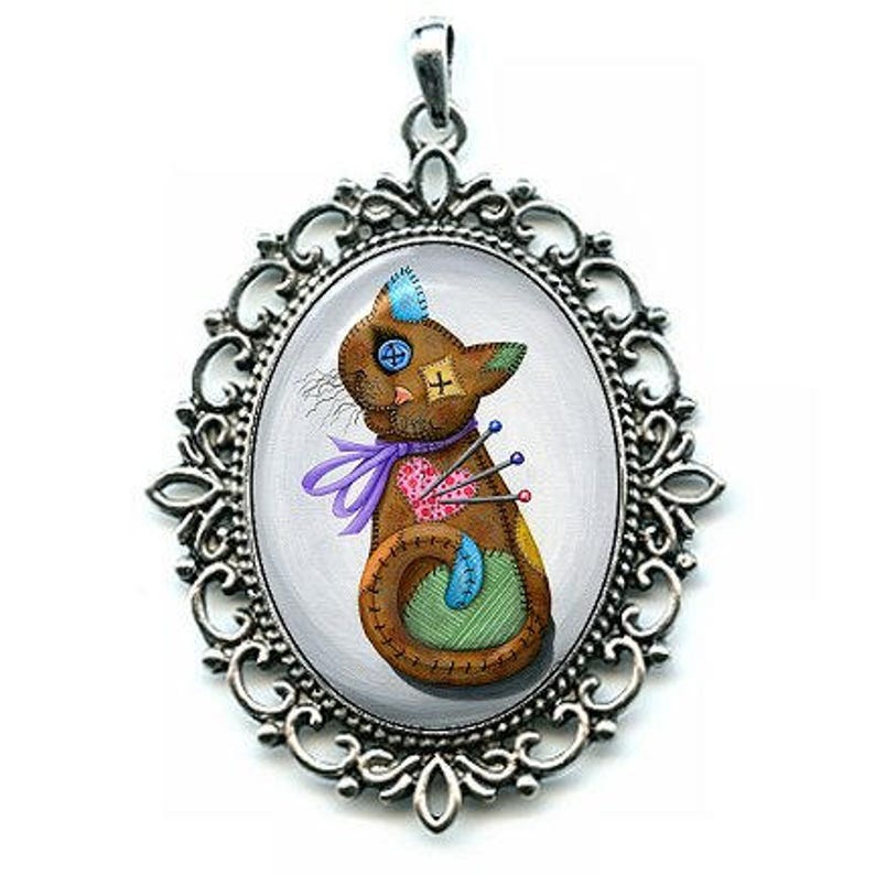 Voodoo Cat Doll Necklace Patchwork Cat Pin Cushion Cat Doll image 0