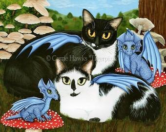 Baby Dragons Cat Art Tuxedo Cat Painting Cow Cats Mushrooms Blue Dragon Fantasy Big Eye Print 8x10 Cat Lovers Art