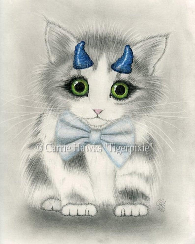Cute Devil Kitten Kawaii Kitten Cat Drawing Little Blue Horns image 0