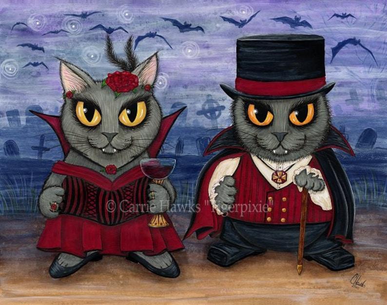 Vampire Cats Art Big Eye Cat Painting Gray Cats Whimsical Art image 0