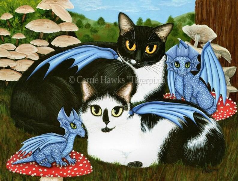 Tuxedo Cat Art Original Cat Painting Cats Dragons Mushrooms image 0
