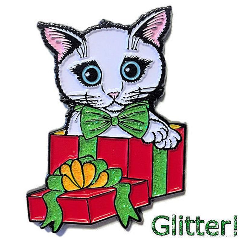 White Cat Pin Kitten Enamel Pin Glitter Gift Kitten Holiday image 0
