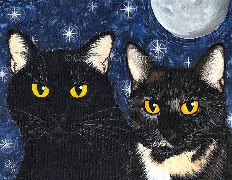 Black Cat Painting Black Cat Art Tortoiseshell Cat Moon Stars image 0