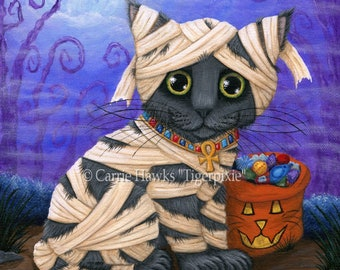 Halloween Mummy Cat Painting Fall Pumpkin Grey Kitten Jackolantern Egyptian Bast Cat Fantasy Cat Art Print 8x10 Cat Lovers Art