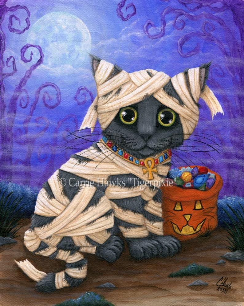 Halloween Mummy Cat Painting Fall Pumpkin Grey Kitten image 0