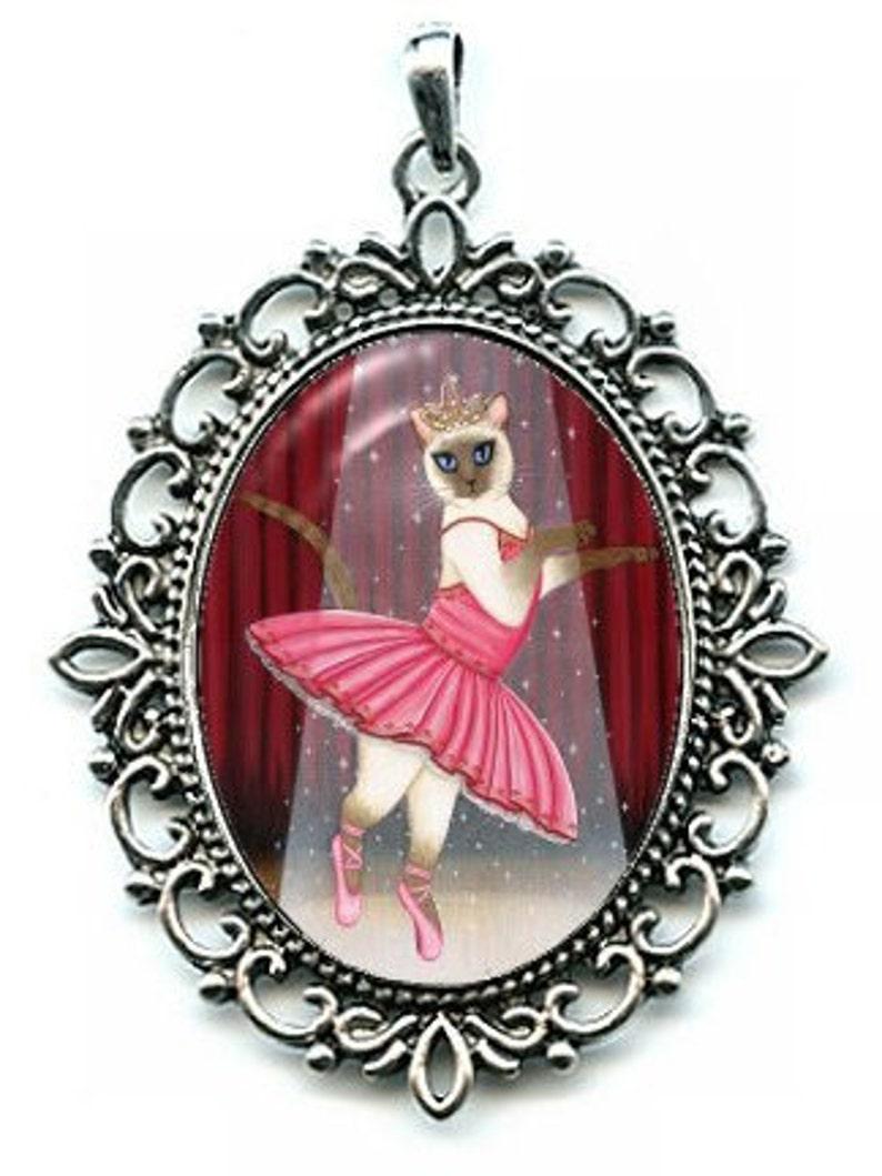Ballerina Cat Necklace Siamese Cat Ballet Dancer Cat Cameo image 0