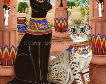 Egypt Cat Art Bast Egyptian Goddess Cat Painting Temple Bastet Statue Mau Fantasy Cat Art Print 5x7 Cat Lovers Art