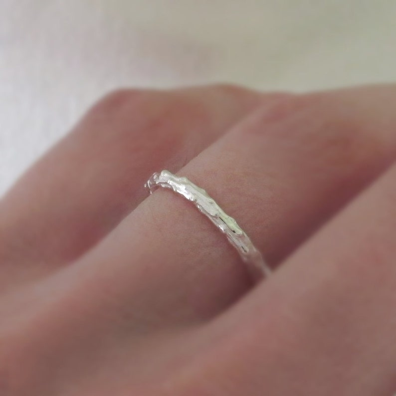 Twig Stacking Ring in Sterling Silver Thin Pine Branch