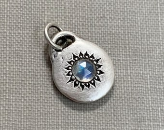 Small Rose Cut Rainbow Moonstone Star Pendant or Necklace