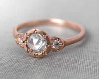 Rose Cut Moissanite Three Stone Bead Set Engagement Ring in 14k Gold