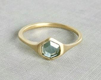 Hexagon Montana Sapphire Signet Ring in 14k Gold