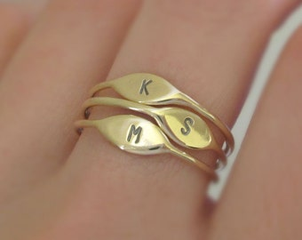 14k Gold Letter Stacking Ring Personalized with Initial, Recycled Gold, Mother's Ring Gift