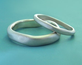 River Wedding Ring in Recycled Sterling Silver, Modern Organic Wedding Ring, Choose a Finish and Width, Free Engraving