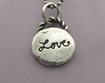 Sterling Silver Love Necklace with Custom Initials or Heart
