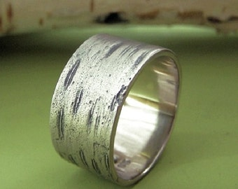 Birch Bark Wedding Ring in 14k Palladium White Gold, Choose a Width, Free Engraving