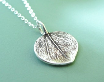 Tiny Aspen Leaf Necklace in Sterling Silver, Last Minute Gift, Free Shipping, Gardening Gift