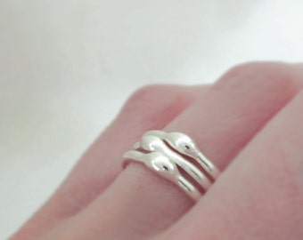 Sterling Silver Stacking Ring Set, Rain, 1.6 mm, Set of Three