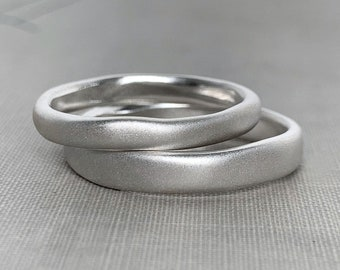 River Wedding Ring in Recycled Sterling Silver, Modern Organic Wedding Ring, Choose a Finish and Width