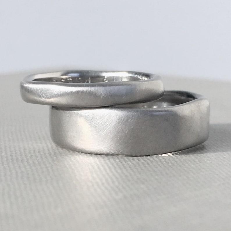 Palladium 950 River Wedding Band Modern Organic Wedding Ring image 0