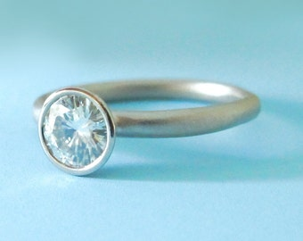 Moissanite Engagement Ring, Recycled 14k Palladium White Gold and Moissanite, River, Choose a Stone Size