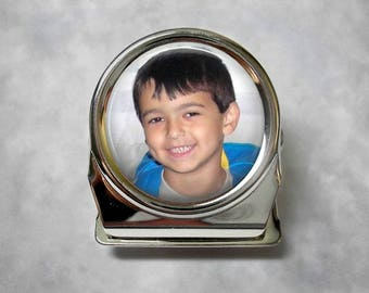 Custom Photo Magnetic Clip - Memo Clip, Refrigerator Magnet, Personalized Gift - Photo under glass