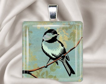 Rustic Bird - Square Glass Tile Pendant Necklace