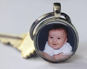 Personalized Custom Photo Key Chain - Round 25mm - Customized Key Chain - Choice of 4 Bezel Colors