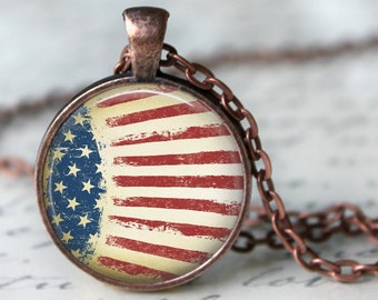 American Flag Grungy Style Pendant, Necklace or Key Chain - Americana, Independance Day, Fourth of July, Red, White & Blue