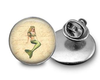 Vintage Mermaid Tie Tack or Lapel Pin - Men's