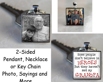 Custom Double Sided Square Pendant, Necklace or Key Chain - Choice of two photos or several different sayings