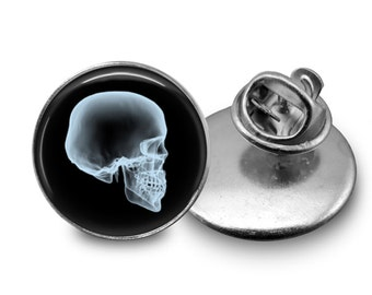 Skull X-Ray Tie Tack or Lapel Pin - Men's - Wedding, Father's Day