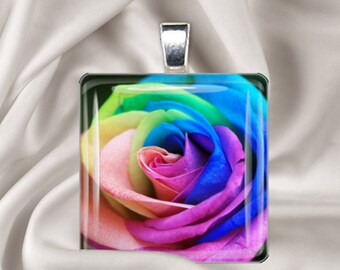 Rainbow Rose - Square Glass Tile Pendant Necklace