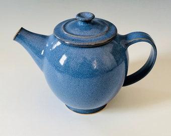 Teapot - Hand-thrown Blue Pottery - 32 oz