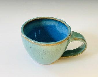 One Mini Mug - Teal and Blue Pottery