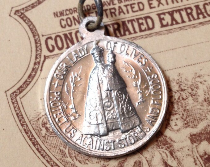 1920s LADY OLIVES MEDALLION Antique Vintage Religious France Protect Us Against Storms & Floods