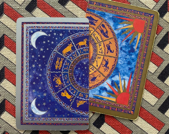 2pcs VINTAGE ZODIAC CARDS Retro Sun + Stars Metallic Accents Horoscope Paper Ephemera Astrology Supplies Junk Journal Single Cards Lot