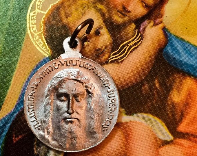 HOLY FACE JESUS Vintage Religious Medal Silver