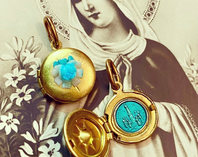 SHRINE SOUVENIR LOCKET Vintage Religious Brass Charm + Celluloid Rose Opens To Our Lady of Good Help Neuvizy France Miniature