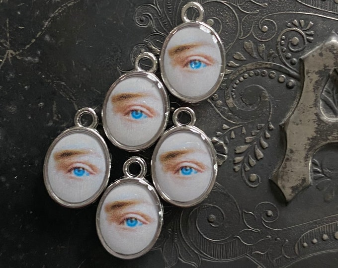 5pcs LOVER'S EYE CHARMS Tiny Custom Made Vintage Faux Victorian Images Memorial Gaze Miniature Pendant Medallions Lot C