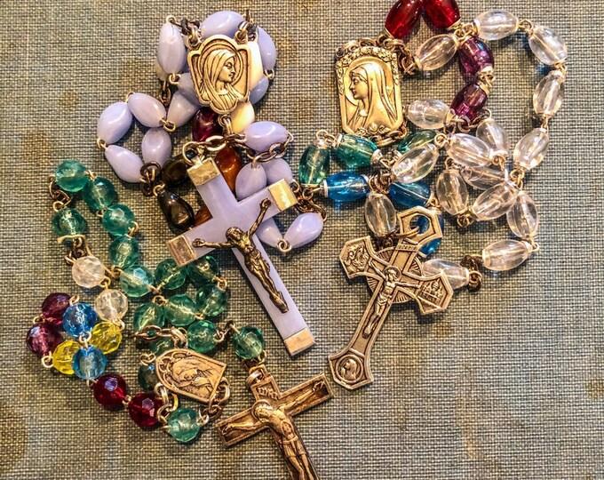 3pcs VINTAGE FRENCH CHAPLETS Religious Beads Virgin Mary Saint Bernadette Lourdes Catholic Rosaries Lot