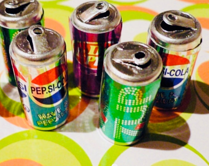 3pcs TINY POP CANS Vintage Plastic Charms Pepsi 7-Up Dr. Pepper Limited Stock